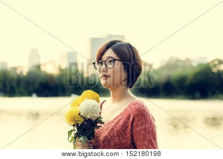 Asian Girl Flower Freshness Relaxation Concept
