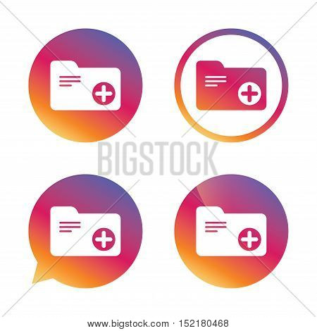 Add document folder sign. Accounting binder symbol. Bookkeeping management. Gradient buttons with flat icon. Speech bubble sign. Vector