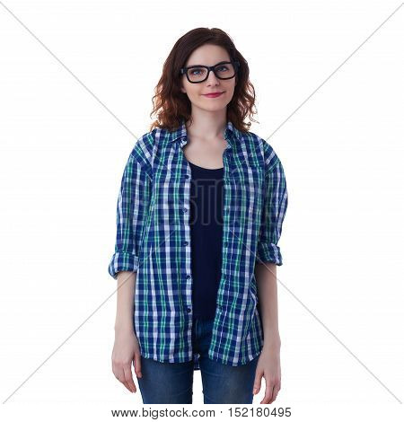 Smiling young woman in casual clothes and glasses over white isolated background, happy people concept