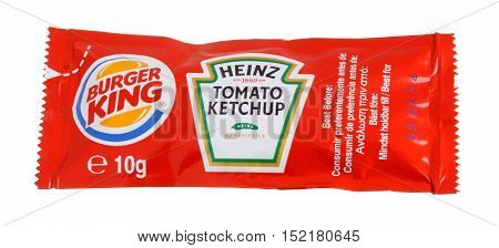 Stockholm, Sweden - January 31, 2014: One 10 g package of Burger King Heinz tomato ketchup for the Swedish market isolated on white..