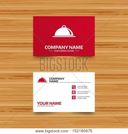 Business card template. Food platter serving sign icon. Table setting in restaurant symbol. Phone, globe and pointer icons. Visiting card design. Vector