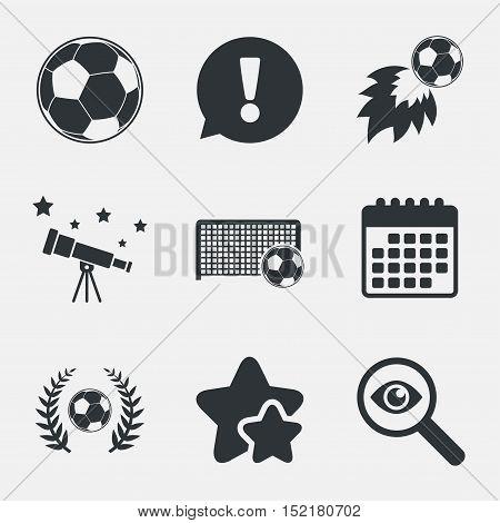 Football icons. Soccer ball sport sign. Goalkeeper gate symbol. Winner award laurel wreath. Goalscorer fireball. Attention, investigate and stars icons. Telescope and calendar signs. Vector