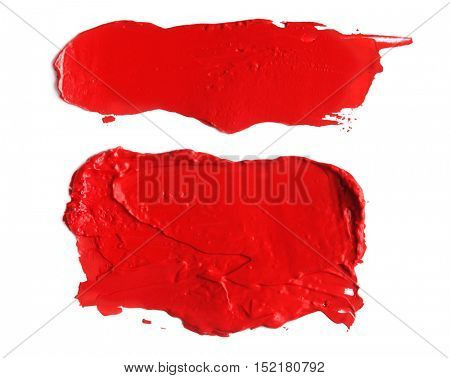 abstract acrylic color brush strokes blots. Isolated on white.