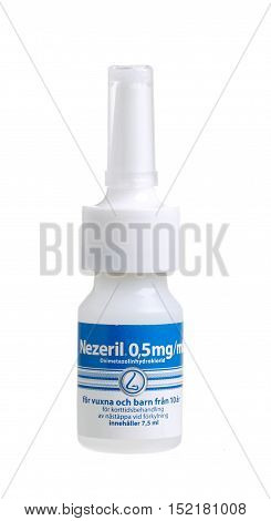 Stockholm, Sweden - January 5, 2014: A bottle containing 7.5 ml nasal spray Nezeril 0.5 mg / ml of active ingredient oxymetazoline for the Swedish market. Nezeril produced by GlaxoSmithKline Consumer Healthcare.
