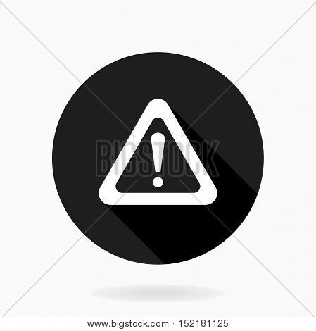 Fine Exclamation Flat Icon in the circle. Flat design and long shadow. Black and white colors