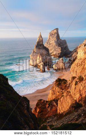 The beach with cliffs on the Atlantic coast in Portugal