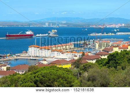 Gibraltar harbour seaport ships in the Bay of Algeciras (coast of Spain).