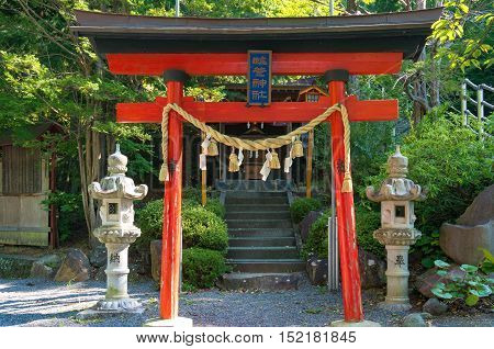 Fujiyoshida Japan - September 2 2016: Torii gate near Niikura Fuji Sengen Shrine at Shiogama Shinto Shrine