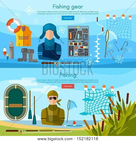 Summer and winter fishing banner professional fishing and outdoor recreation fishing tools vector illustration