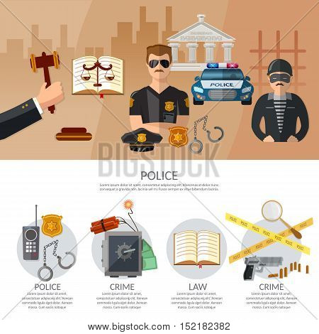 Justice system infographics crime and punishment criminal trial judge in court vector illustration