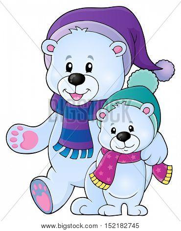 Stylized polar bears theme image 1 - eps10 vector illustration.
