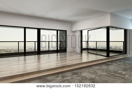 3d rendering of an empty large spacious open-plan loft or condominium living room with panoramic view windows overlooking a city and steps up to a parquet floor