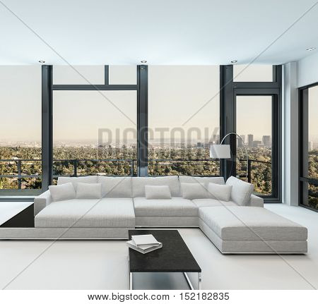 3D rendering of large white modular sofa beside floor lamp and blank books on black table in spacious condominium living room