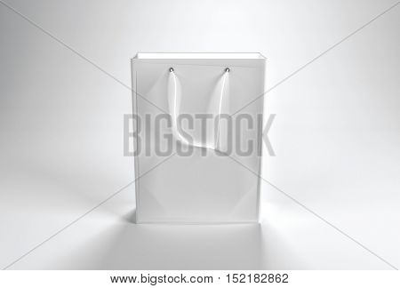 3d rendering of a blank plain white paper shopping bag with string handle and copy space for your branding or advertising text or template
