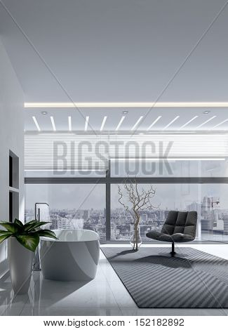Stylish modern monochrome grey bathroom interior with freestanding bathtub and chair with a glass wall overlooking a cityscape, 3d rendering