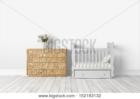 Beautiful modern interior with cot. 3D rendering