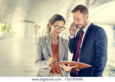 Business People Discussion Mobile Phone Telecommunication Concept