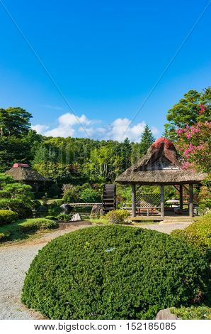 Oshino, Japan - September 2, 2016: Japanese traditional thatch roof farmhouses and pond with crystal clear water and water wheel. Fuji Five Lakes, Japanwheel and Mt Fuji on the background. Fuji Five Lakes Japan