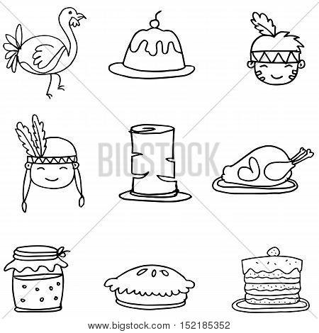 Set of Sketch doodle Thanksgiving vector illustration