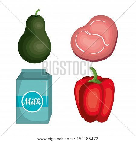 set nutritive food isolated icons vector illustration design