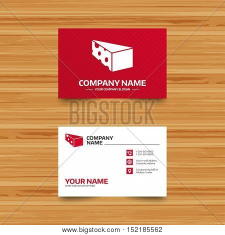 Business card template. Cheese sign icon. Slice of cheese symbol. Triangle cheese with holes. Phone, globe and pointer icons. Visiting card design. Vector