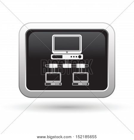 Network icon on the button. Vector illustration