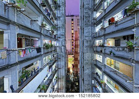 Hong kong slum downtown area at night