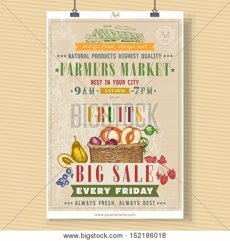 Farm market fruit shop signboard template. Basket with fresh fruit vegan fruit shop hand drawn vector