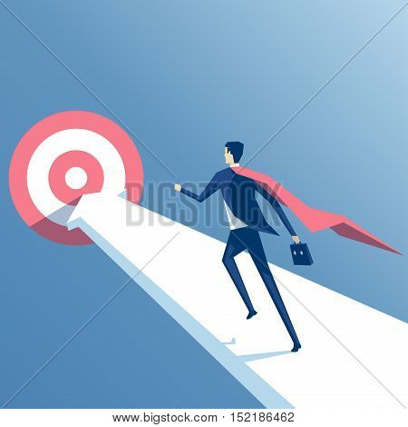 Super businessman running towards the goal business superhero rushing on the arrow to the target business concept goal and success