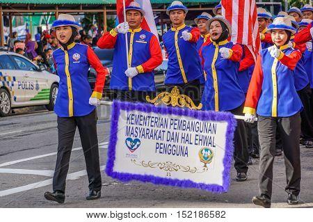 Kota Kinabalu,Sabah-Aug 31,2016:Happy Malaysians wearing colorful costume celebrating the Malaysia National Day at Kota Kinabalu,Sabah,Borneo,Malaysia on 31st Aug 2016.