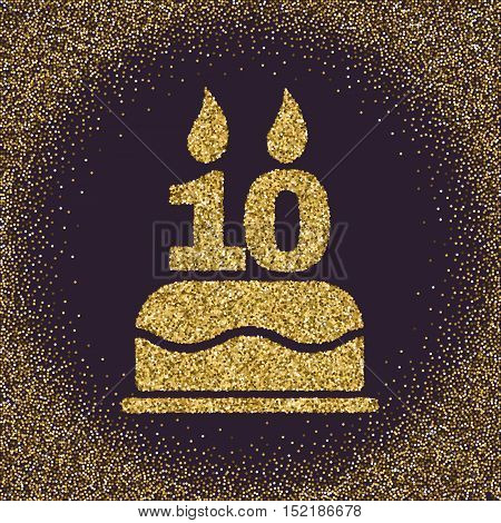 The birthday cake with candles in the form of number 10. Birthday symbol. Gold sparkles and glitter Vector illustration