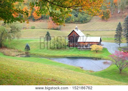 Vermont rural landscape in autumn time