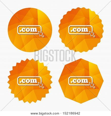 Domain COM sign icon. Top-level internet domain symbol with cursor pointer. Triangular low poly buttons with flat icon. Vector