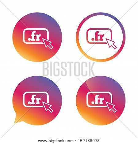 Domain FR sign icon. Top-level internet domain symbol with cursor pointer. Gradient buttons with flat icon. Speech bubble sign. Vector