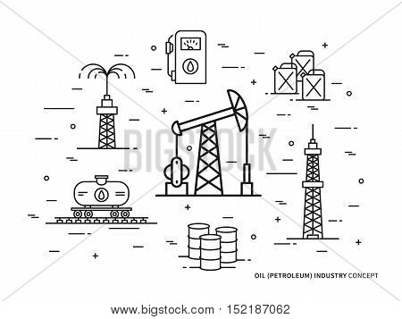 Oil production linear vector illustration with oil derrick petrolium fuel gasoline barrel petrol tower. Oil production creative graphic concept.