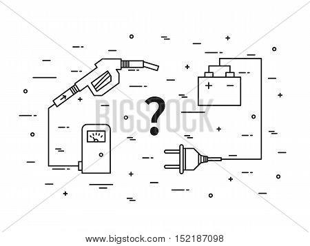 Oil energy versus electric energy linear vector illustration with fuel hose pipe petrolium fuel gasoline battery plug. Fuel petroleum energy versus electric eco power energy concept.