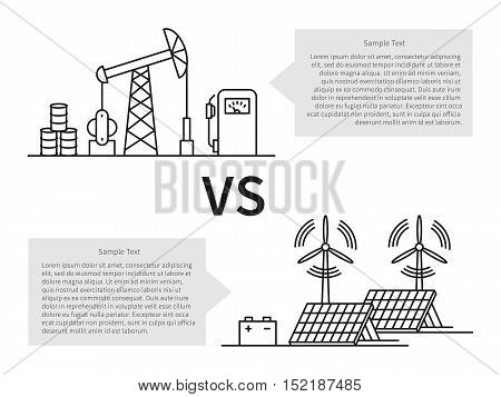 Oil production versus electric energy linear vector illustration with fuel hose pipe petrolium fuel gasoline battery solar battery wind turbine. Fuel energy versus eco power energy concept.