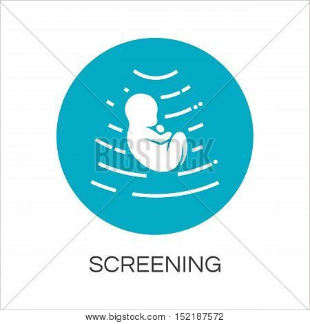 Icon screening baby in womb drawn in flat style. Simple blue label. Concept of perinatal medicine and newborn. Image for websites, mobile apps and other design needs. Vector contour graphics