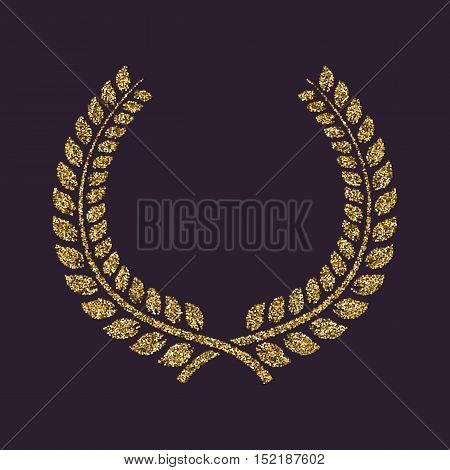 The laurel wreath icon. Prize and reward, honors symbol. Flat Vector illustration. Gold sparkles and glitter