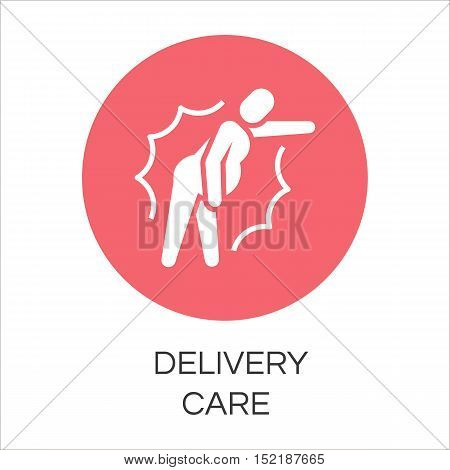 Round icon of person in pain. Label drawn in flat style. Delivery care concept. Simple red logo for websites, mobile apps and other design needs. Vector contour pictograph