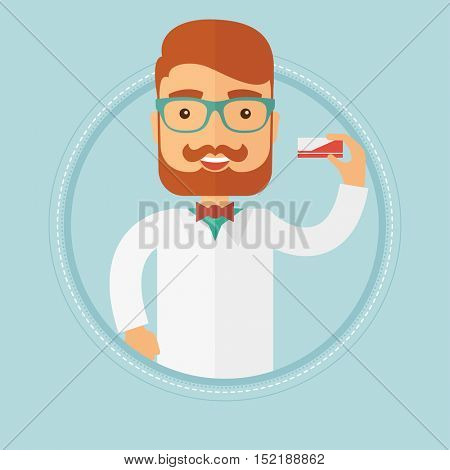 Caucasian hipster pharmacist with the beard showing some medicine. Young smiling male pharmacist holding a box of pills. Vector flat design illustration in the circle isolated on background.