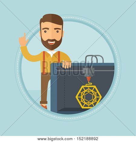 Caucasian hipster man standing near 3D printer and pointing forefinger up. Engineer using 3D printer. Man working with 3D printer. Vector flat design illustration in the circle isolated on background.