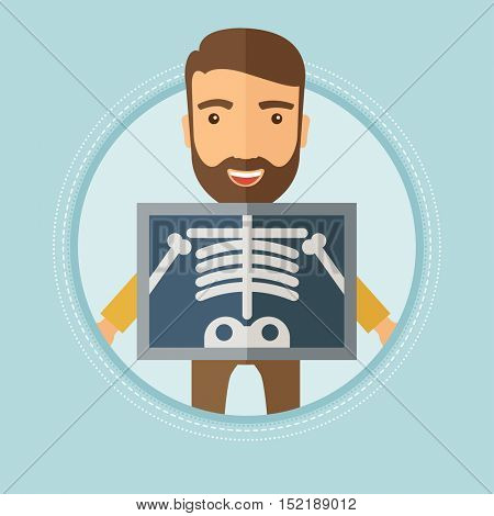 Patient during chest x ray procedure. Young man with x ray screen showing his skeleton. Patient on reception at the radiologist. Vector flat design illustration in the circle isolated on background.