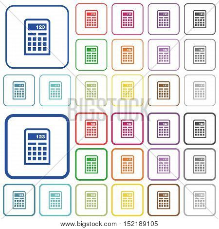 Set of calculator flat rounded square framed color icons on white background. Thin and thick versions included.