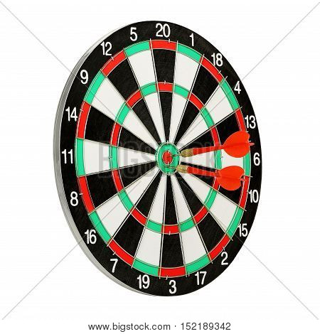 dart board with darts isolated on white