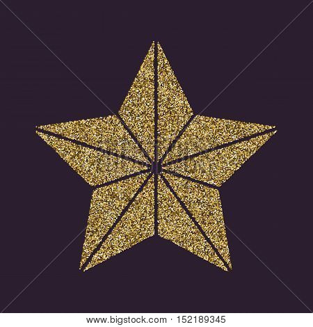 The star icon. Best and favorite, quality symbol. Gold sparkles and glitter Vector illustration