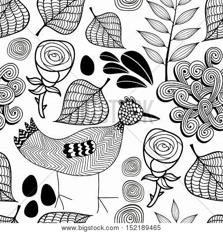 Black and white endless background with nature elements and doodle bird. Vector seamless pattern. Hand drawn illustration.