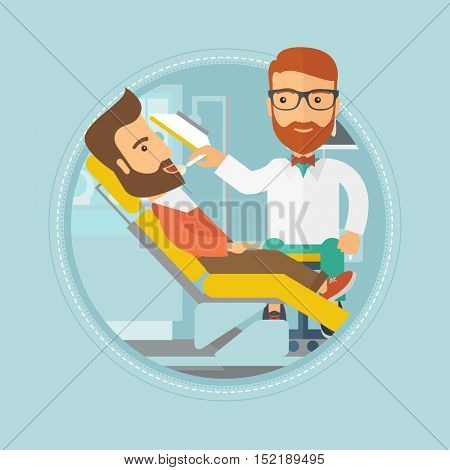 Hipster man sitting in chair at the dental office. Doctor and patient in the dental clinic. Patient on reception at the dentist. Vector flat design illustration in the circle isolated on background.