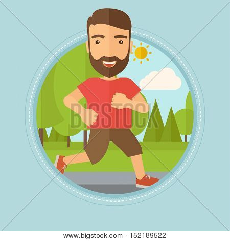 Caucasian hipster man with beard running. Male runner jogging outdoors. Sportsman running in the park. Running man on forest road. Vector flat design illustration in the circle isolated on background.