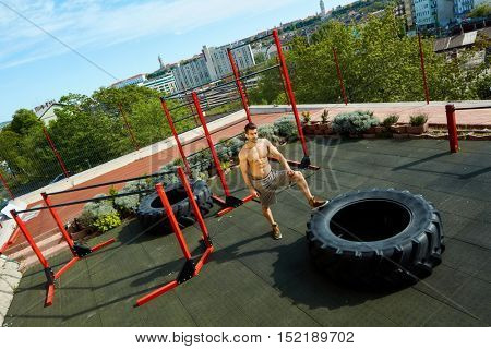 Street fitness outdoor gym over the city.